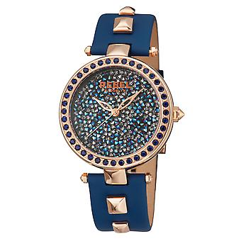 Rebel Women's Rockaway Parkway Blue/Silver Dial Leather Watch