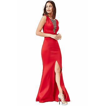 Red embellished maxi dress with split detail