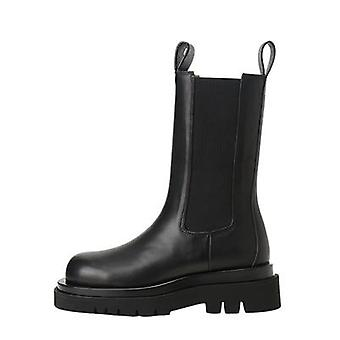 Autumn And Winter Women Chelsea Boots Thick-sole Soft Leather Women Flat Boots