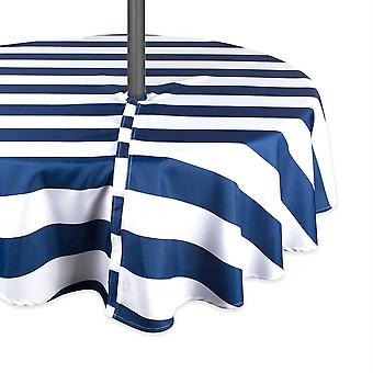 Tovaglia da esterno Dii Nautical Blue Cabana Stripe con cerniera 52 round