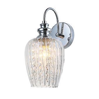 Vägglampa Chrome 1 Ljus med glas Skugga, E14