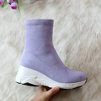 Autumn/winter Wedge Heel Fashion Casual Women Shoes Flock Stretch Boot