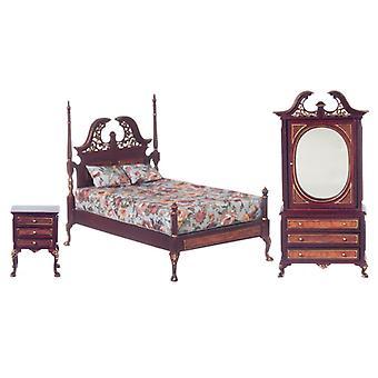 Dolls House Harding Bedroom Suite Platinum Kokoelma Miniatyyri huonekalut Setti