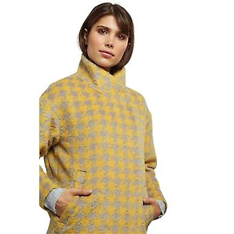Louche Womens Donalda Houndstooth High Neck Cocoon Coat Yellow