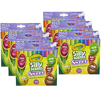 Scentos tontos dulces, lavables, marcadores de línea ancha, 10 por paquete, 6 paquetes