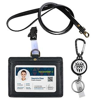 "Lanyard badge holder leather for id ic card horizontal type for nurse woman lanyard 3""*4"" badge (ree"