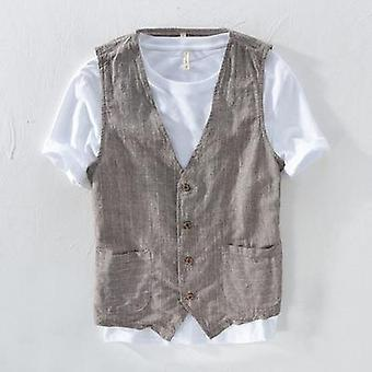 Mans Vintage Linen Suit Vest Slim, Male Casual Striped Thin Waistcoat