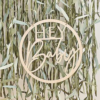 Houten Hey Baby Shower Sign   Botanische hoepel om decoratie op te hangen