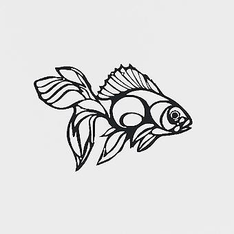 Décoration de mur de poisson de métal noir, L40xP1.5xA30 cm