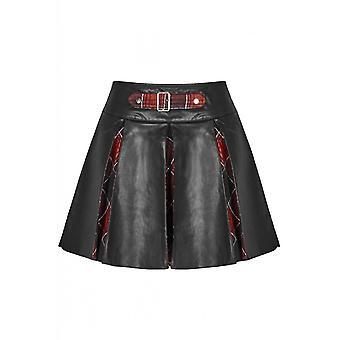 Punk Rave Faux Leather Tartan Pleat Mini Skirt