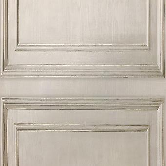 Wood Panelling Neutral Wallpaper