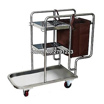 Stainless Steel 3 Shelf Janitor Cart With Cloth Bag