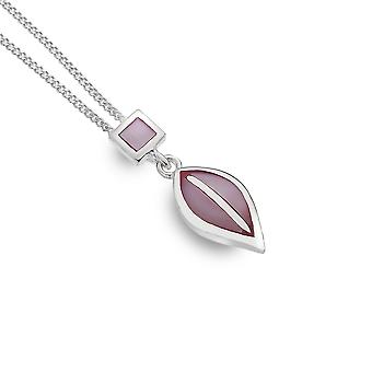 Collier en argent sterling - Charles Rennie Mackintosh Square + Teardrop + Pink Mother of Pearl