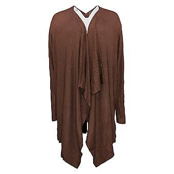 Zuda Women's Sweater Ecovero Open Cardigan With Rib Detail Brown A382292