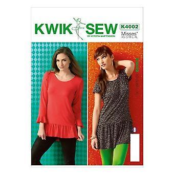 Kwik Sew Sewing Pattern 4002 Misses Tunic Size XS-XL