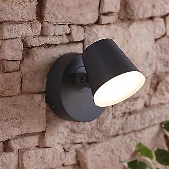 Dalen Integrated LED Swivel Grey Outdoor Wall Light Garden Patio Door 12.5W A++