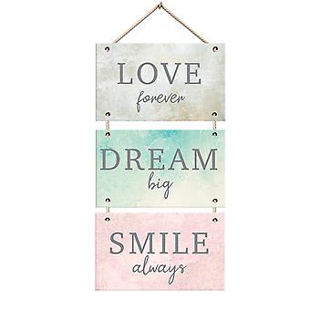 Stylish Love Forever Dream Big Smile Always Colourful Wooden Hanging Wall Plaque