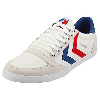 hummel Slimmer Stadil Low Mens Casual Trainers in White Blue Red