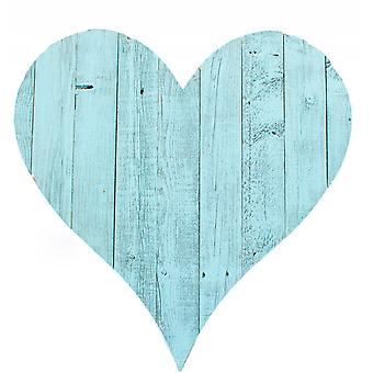 """24"""" Rustic Farmhouse Turquoise Large Wooden Heart"""