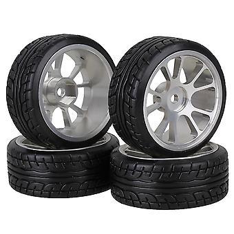 4 x RC1:10 On-Road Car 62mm Plastic Drift Tyre Silver Alloy 10-Spoke Wheel Rim