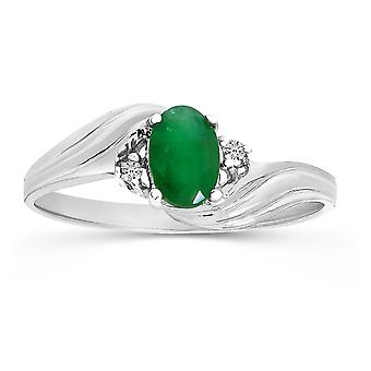 LXR 10k White Gold Oval Emerald and Diamond Ring 0.31 ct