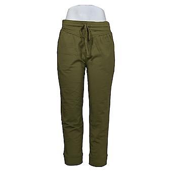 Pantalone petite cozy knit luxe da donna con giogo curvo verde A392852