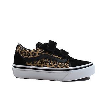 Vans Ward V Black Cheetah Canvas Childrens Rip Tape Sneakers