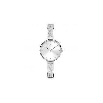 Accurist Ladies Round Silver Dial Swarovski Mesh Stainless Steel Bangle Watch 8214
