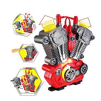 Children Simulation Motorcycle Engine Overhaul Play Set With Light Sound, Diy