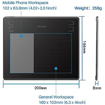 FengChun Grafik Tablet HS64 untersttzt Mobiltelefon-Connect-Funktion mit dem akkufreien Stift 8192