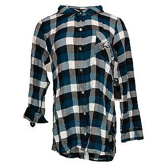 NFL Women's Top Breakout Flannel Long Sleeve Tunic Blue