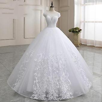 Kurze Ärmel schiere Hals Hochzeit Kleider Frauen schwere Kristall Perlen sehen durch