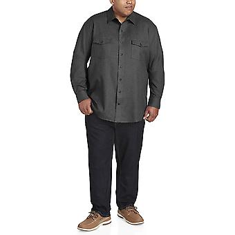 Essentials Men's Big & Tall Long-Sleeve Solid Flannel Shirt fit by DXL