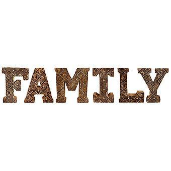 Handsnidade trägeometriska bokstäver familj