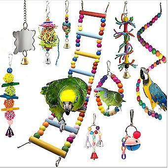 10pcs parrot toys set, ladder & bell,Colorful Balls