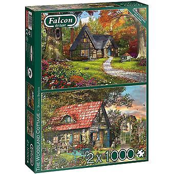 Falcon Deluxe Skogsstugans pussel (2 x 1000 stycken)