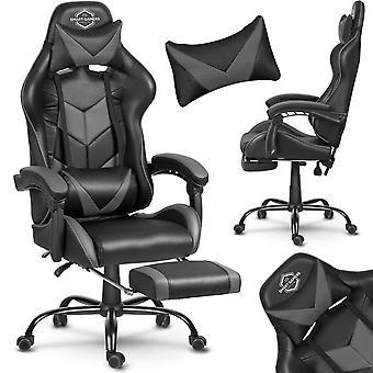 Game bureaustoel met voetensteun + kussens - zwart & grijs