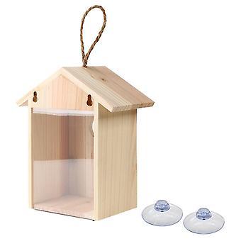 Houten vogelnesten buiten zuignap raam dispenser voedsel container huis| Vogelkooien & Nesten