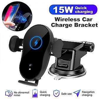 Qi 15w trådlös billaddare Automatisk fastspänning Montering Telefonhållare