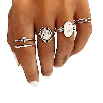 5pcs Ring Stackable Gold Set Flower Cross Fashion Hand Jewelry For Women And Girls(Type2)