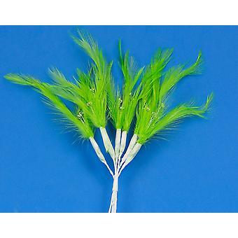 6 Verde Lima 20cm Pluma y Diamante Picks para Floristería & Artesanía