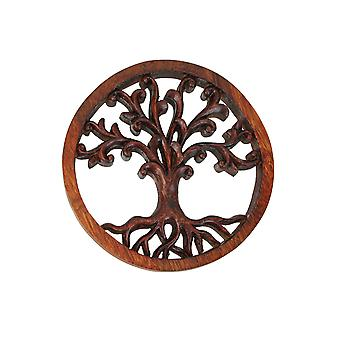Handgesneden mahonie levensboom hout Wall Plaque