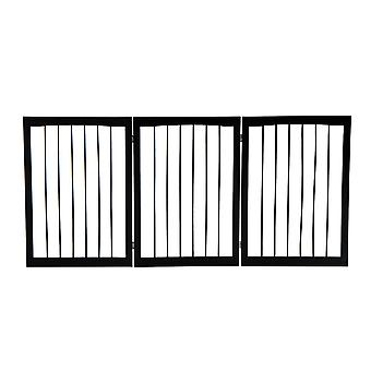 PawHut Folding 3 Panel Pet Gate Wooden Foldable Dog Fence Indoor Free Standing Safety Gate Portable Separation Pet Barrier Guard