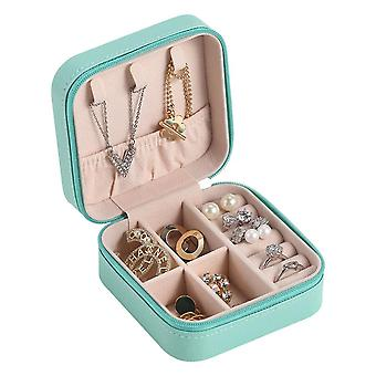 Leather Portable Jewelry Box-blue