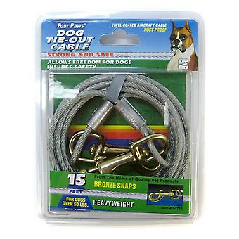 Four Paws Dog Tie Out Cable - Heavy Weight - Black - 15' Long Cable