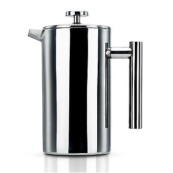 Coffee pot in SILVER – 1l coffee maker according to French pressing system made of stainless steel