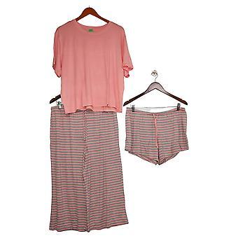 Honeydew Women's Ladies' Palazzo Pajama Set 3-piece Pink