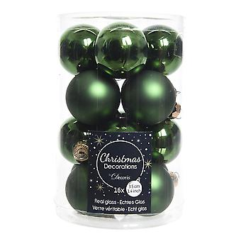 16 3.5cm Pine Green Glass Christmas Tree Bauble Decorations