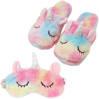 Masque coloré licorne pour les yeux et pantoufles de licorne pour fille
