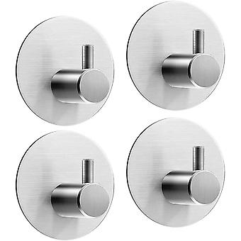 4 Self-adhesive Towel Hooks, Round Robe Hooks, Wall Hooks, Bathroom And Kitchen Towel Stand Stainless Steel, Hook, No Hole